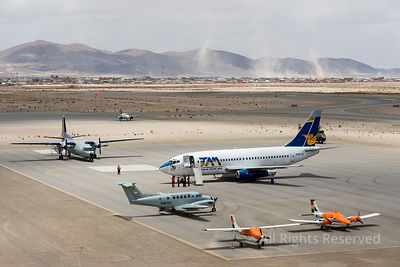 Aerial View on Aircrafts at the Airport of Uyuni With the City of Uyuni on the Background Bolivia