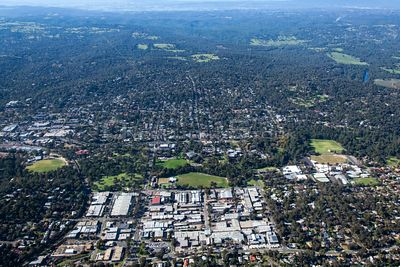 Aeril view of Eltham in Victoria, Australia.