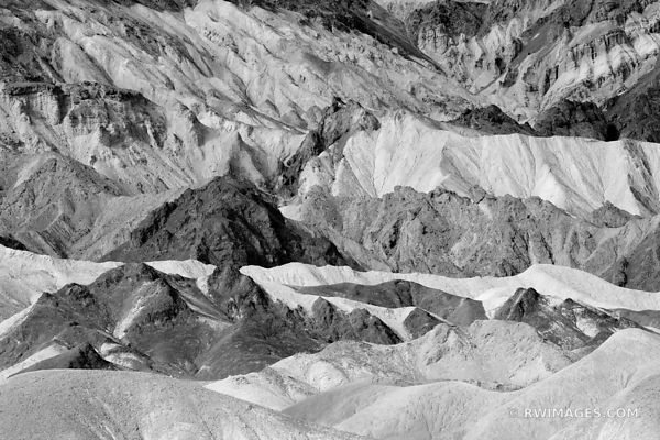 BADLANDS TWENTY MULE TEAM CANYON DEATH VALLEY CALIFORNIA BLACK AND WHITE AMERICAN SOUTHWEST DESERT LANDSCAPE