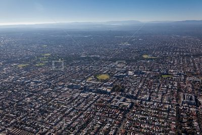 Aerial view of Brunswick East in Melbourne, Australia.  Aerial view looking to the East.