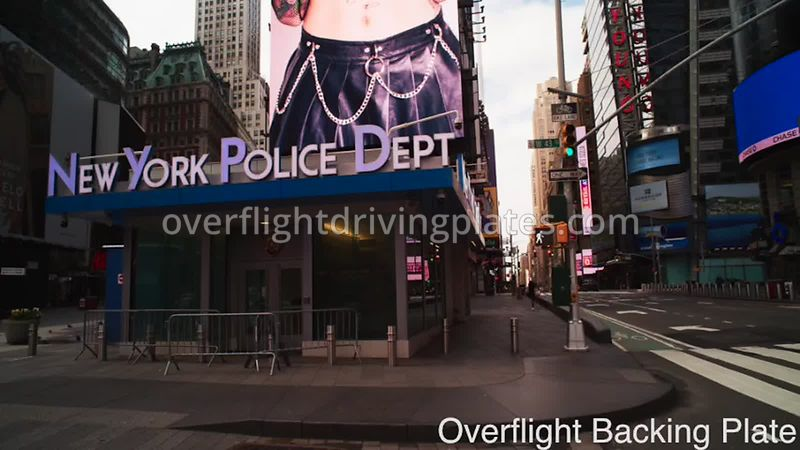 NYPD 43rd Street Deserted Streets During Covid-19 Pandemic Time Square Manhattan New York New York USA - BackingPlate Apr 26,...