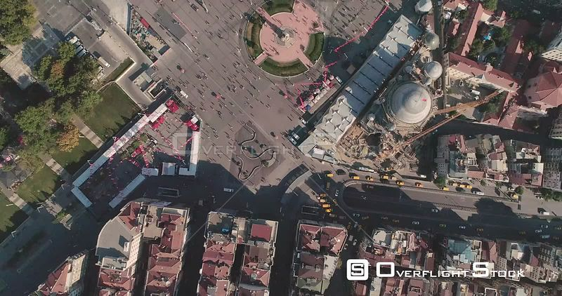 Aerial View Over Taksim Square Istanbul Turkey