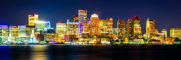 Boston Skyline at Night High Resolution Panorama Photo