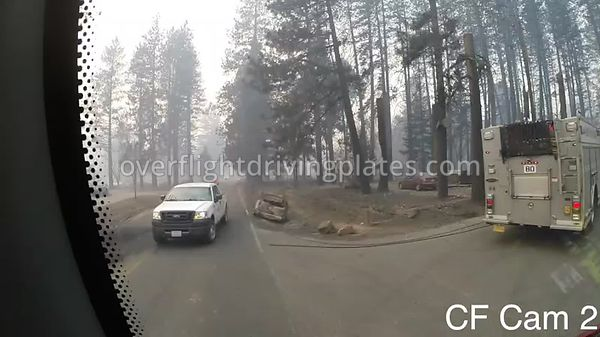 Camp Fire Post Fire Smoke  Paradise California USA - Center Front View Driving Plate Cam21 Feb 15, 2019