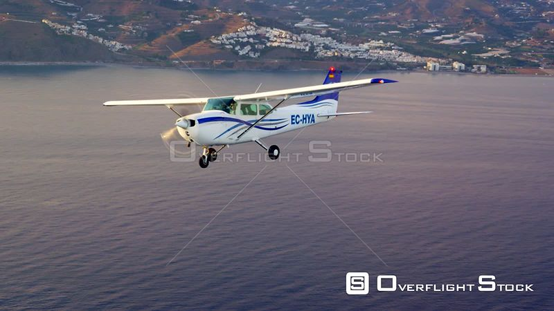 Air to Air Video of Cessna C172 in flight over the Mediterranean Spain