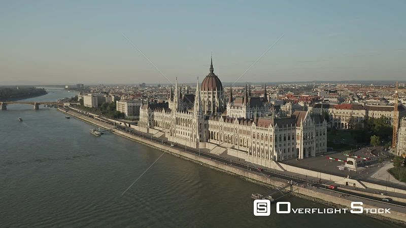 Aerial Drone Video of Budapest Parliament Hungary