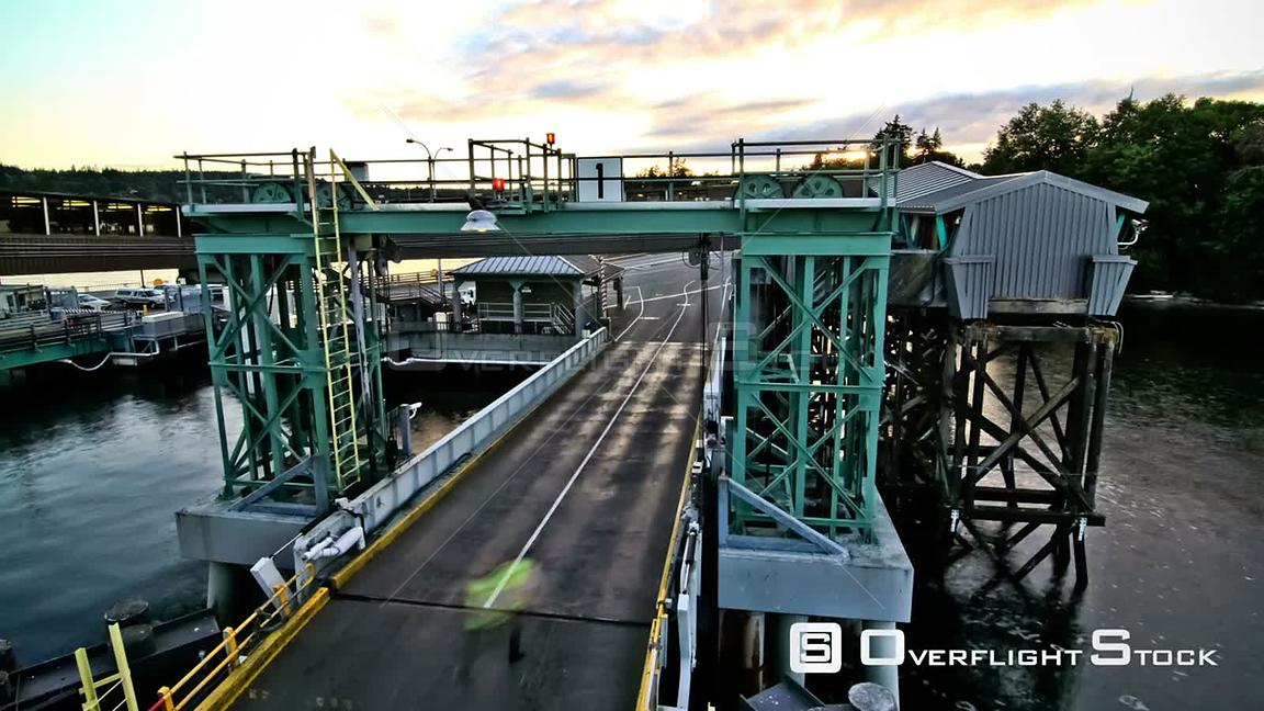 Seattle Washington State USA Rear view time lapse of ferry ride away from Bainbridge Island with a beautiful sunset.