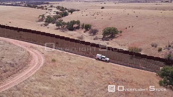 East of Nogales at US Mexico Montezuma Canyon Border Patrol Truck and Fence