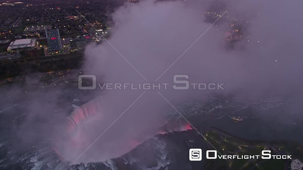 Niagara Falls Ontario Slight descending birdseye view of Horseshoe Falls Park with epic mist cloud detail