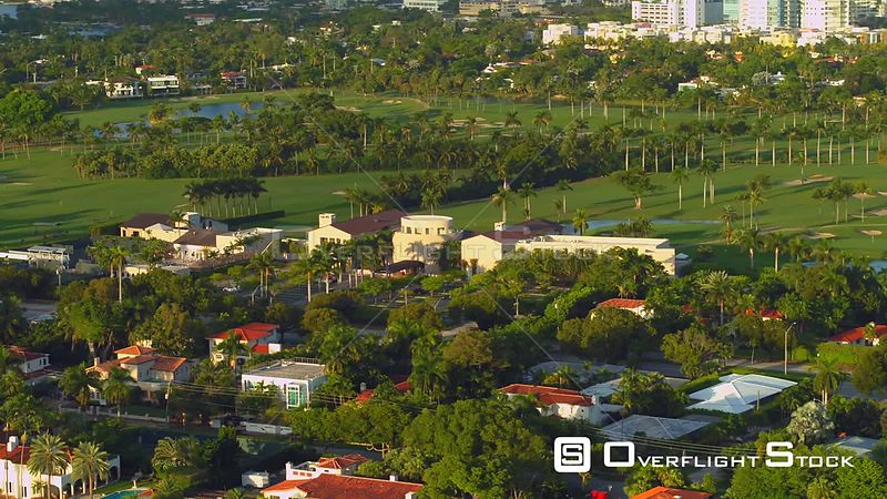 Aerial video Miami Beach La Gorce Golf Course 4k