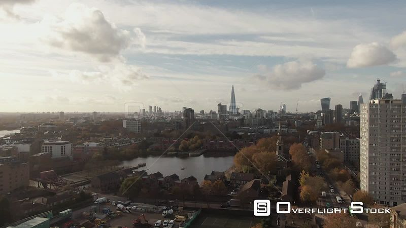 Ascending view of the skyline of central London from the East