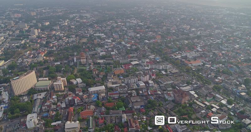 Chang Mai Thailand Aerial Panning birdseye looking down on cityscape