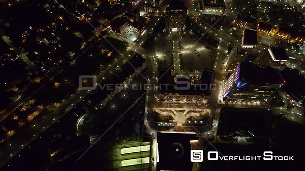 Providence Rhode Island Panning birdseye looking down to looking out at nighttime cityscape