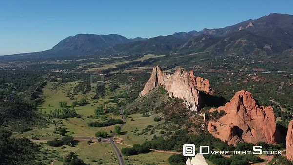 Cheyenne Mountain with limestone and sandstone outcroppings, Colorado Springs, Colorado, USA