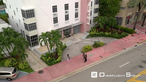 Aerial video Tropics Hotel and Hostel Miami Beach Collins Avenue 4k
