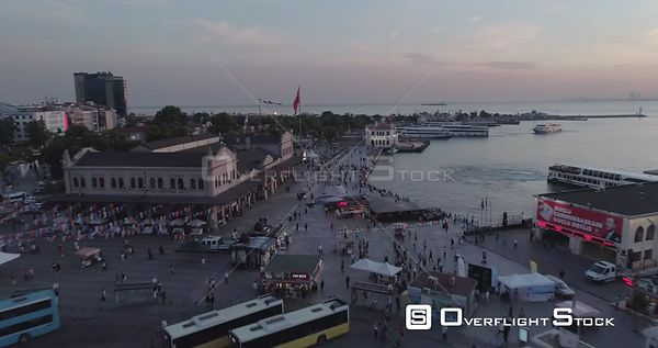 Aerial View Kadikoy Over Buses and Turkish Flag Turkey