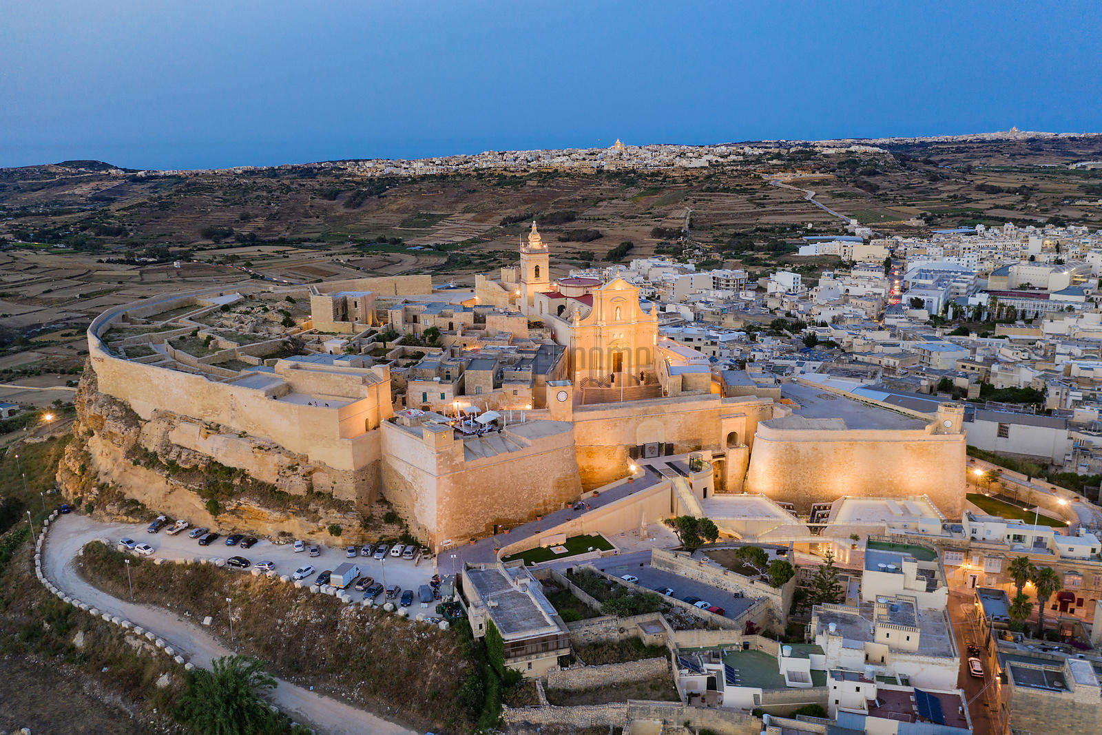 Elevated View of the Cittadella at Dusk with the Towns of Xaghra and Nadur in the Background