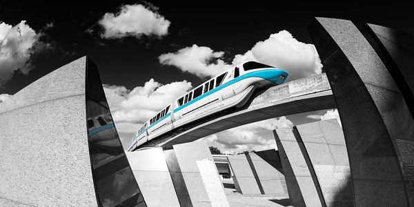 Monorail Teal Framed by Granite Monoliths | Selective Color Print