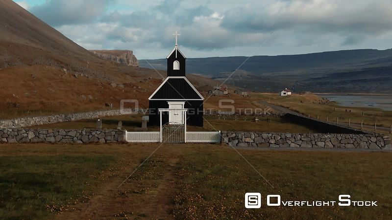 A Small Black Church in a Fjord in West Iceland