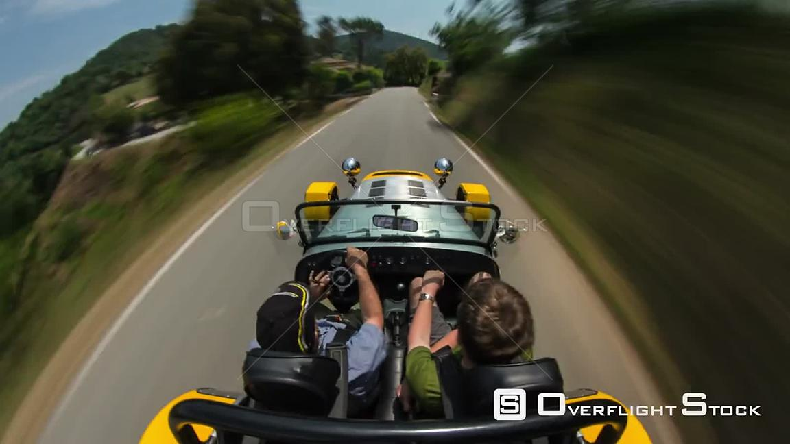 Driving time lapse with above POV view in south of France.