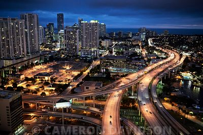 Early evening view of Interstate 95 And Downtown Miami.