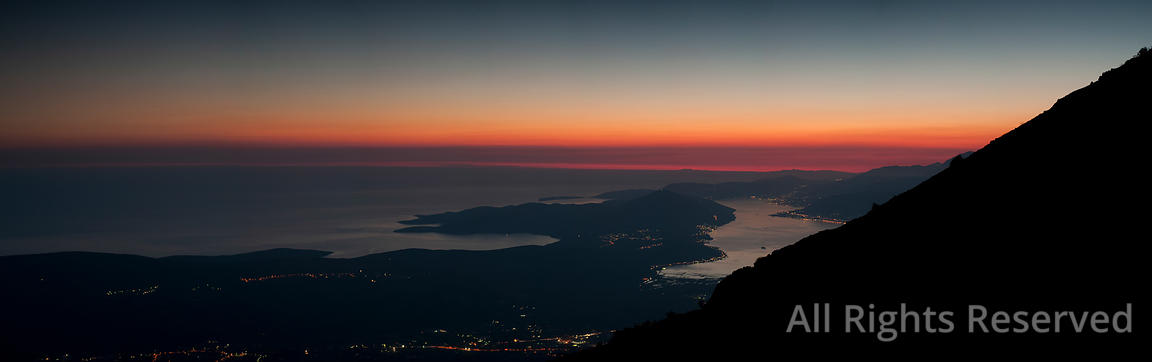 Amazing Panoramic Aerial View After Sunset Over the Bay of Kotor With a Red Sky from Lovcen National Park