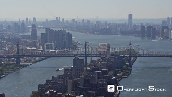 NYC New York Panoramic New York cityscape with Roosevelt Island, East river, NYC skyline and Upper East Side