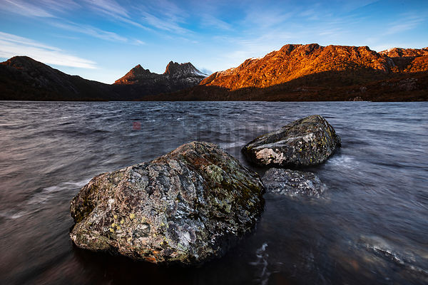 Photographers' Rock at Dove Lake with Cradle Mountain in the Background