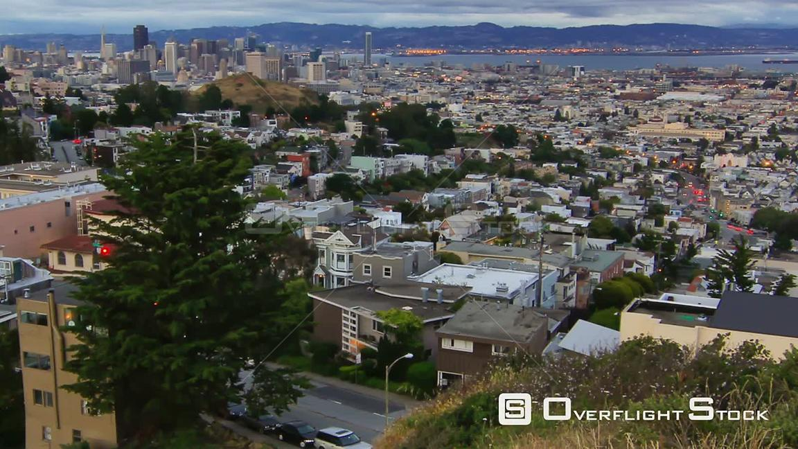 San Francisco California USA Zooming San Francisco cityscape time lapse using a photo effect