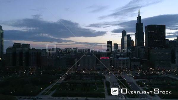 Dusk Drone Footage During Covid-19 Lockdown Grant Park and Cityscape