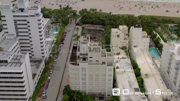 Aerial reveal clip The Raleigh Hotel Miami South Beach FL 2020