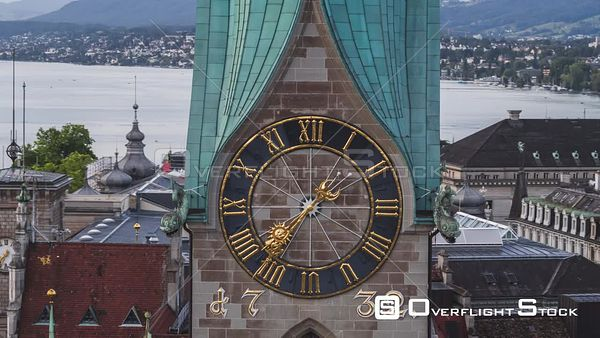 Church Steeple and Clock Zurich Switzerland Drone Video