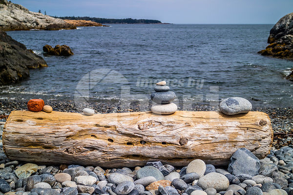 Stacking Stones in Acadia National Park, Maine