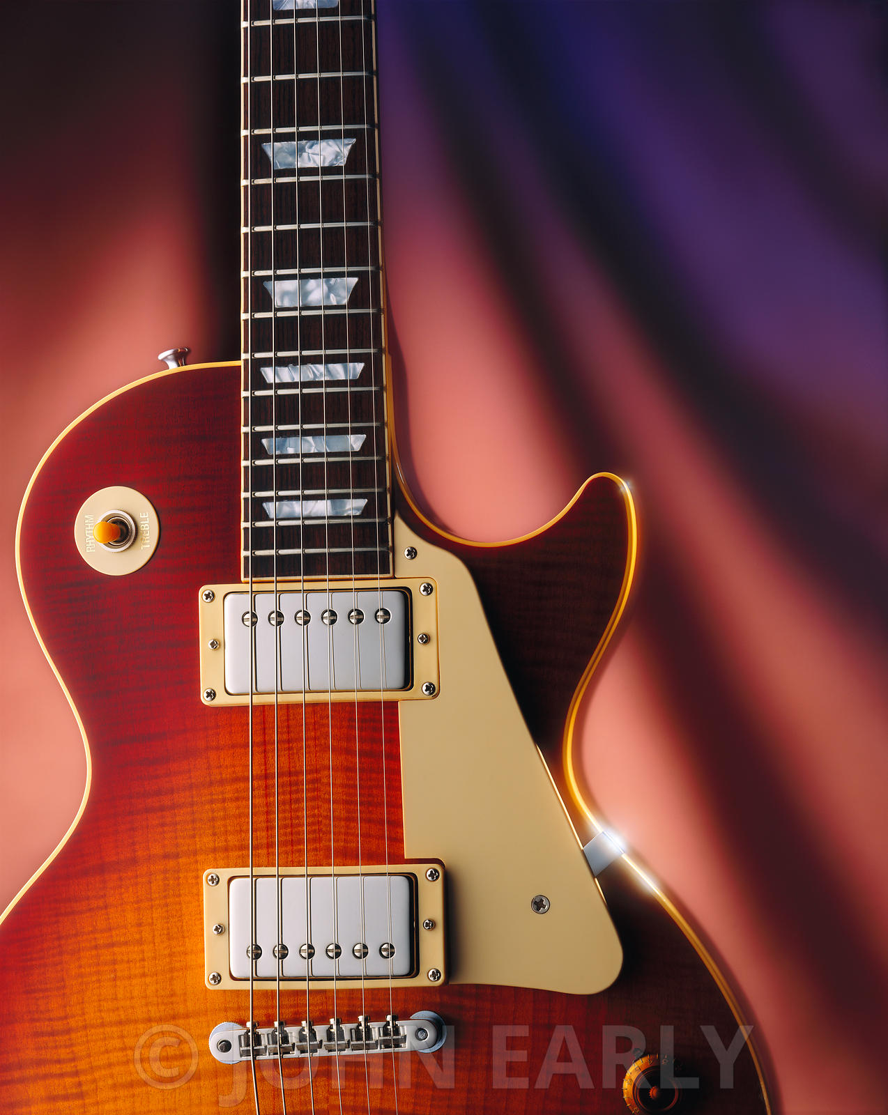Electric Guitar on Colorful Background