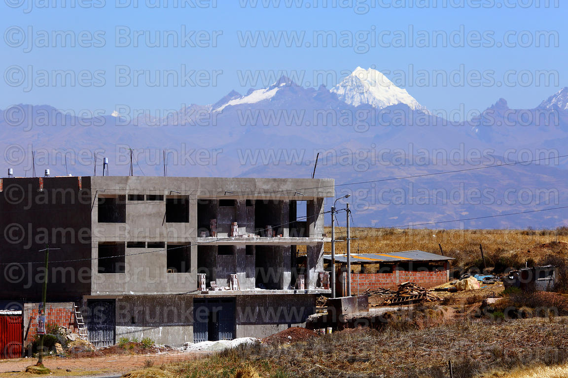 Concrete building under construction at Nuevo Chinchero, near the original village of Chinchero, Cusco Region, Peru