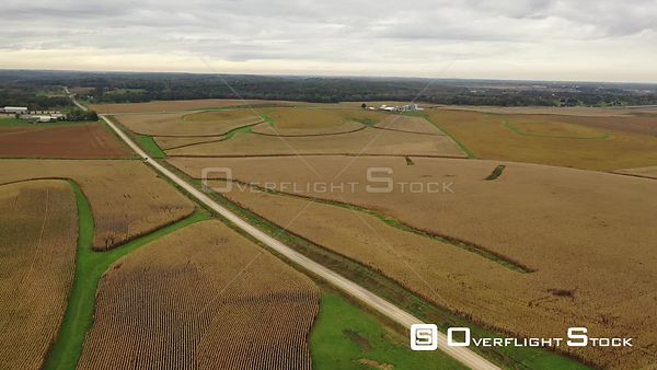 Circle around silo and corn fields in Iowa