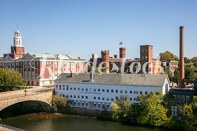 View of Historic Mill Building and Bridge on Blackstone River