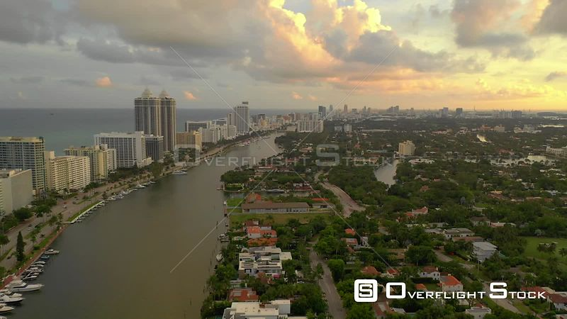 Miami Drone footage aerial 4k nice sunset colors
