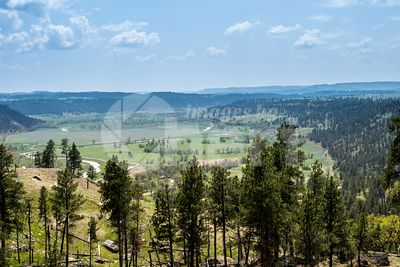 An overlooking landscape of Devils Tower National Monument, Wyoming