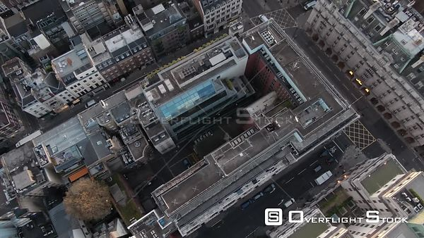 London streets, filmed by drone in autumn, at sunrise, London, United Kingdom