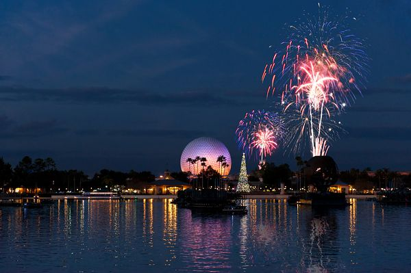 Spaceship Earth, Christmas Tree and Fireworks | Color Print