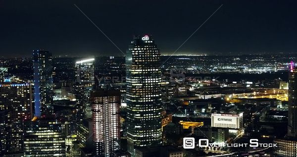 Long Island City  Queens New York City Night Drone Aerial View