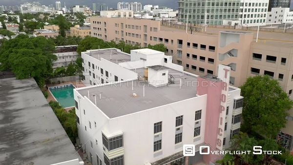 Aerial rise above Tropics Hotel Hostel Miami Beach FL USA 4k