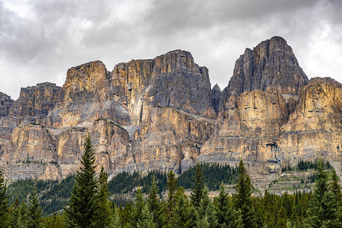 Sheer cliffs of Castle Mountain, along the Bow River valley.