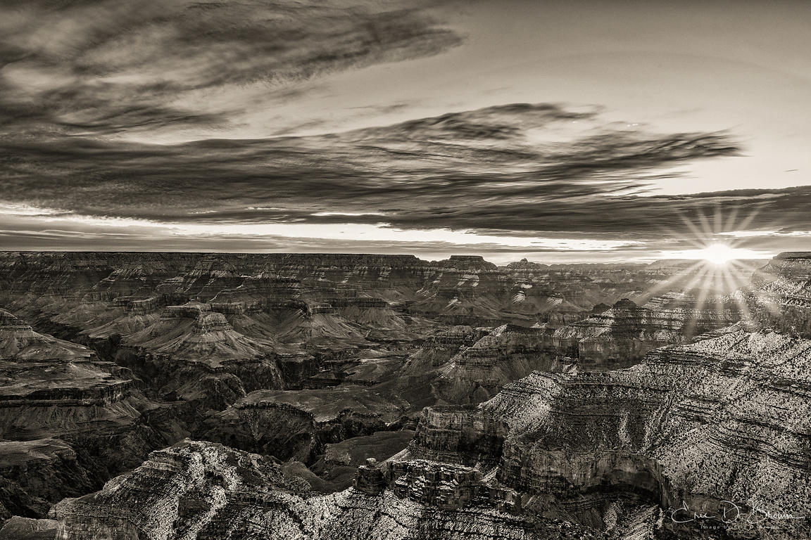 Grand Canyon Sunset in Black & White
