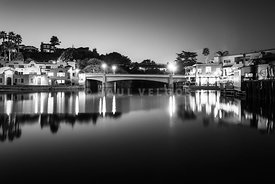 Capitola California at Night Black and White Photo
