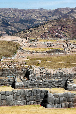 View over defensive zigzag walls of the site of Sacsayhuaman, on a hilltop above Cusco, Peru