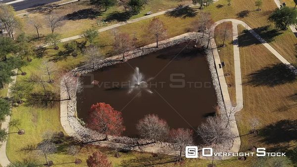 Small Pond in a Park with a Fountain, Bryan, Texas, USA
