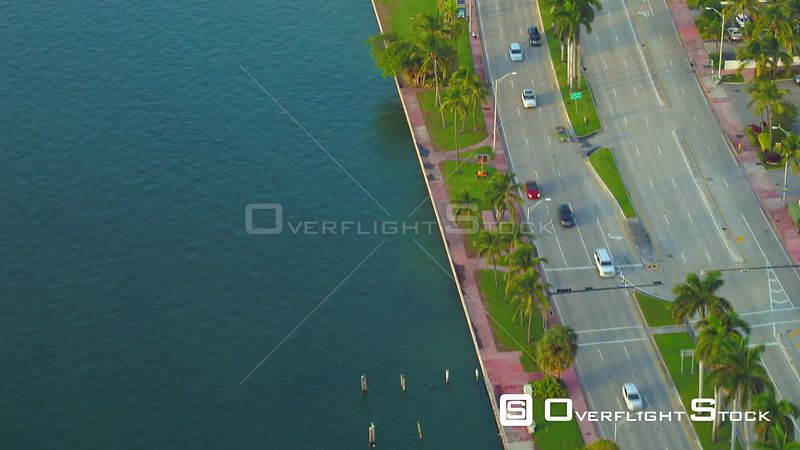 Collins Avenue Miami Beach aerial flyover 4k