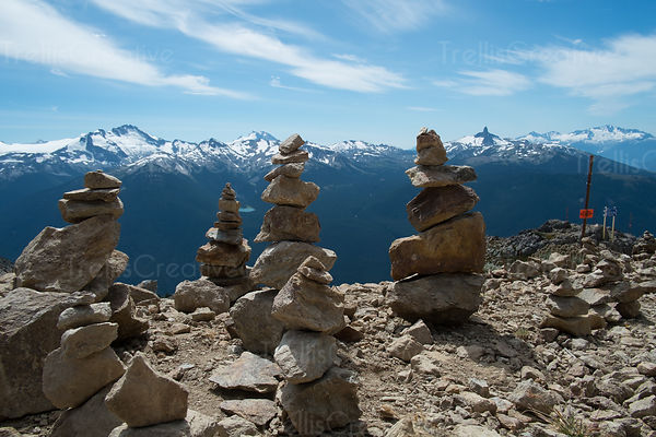 Cairns set up along a rocky mountain peak, Blackcomb Mountain, Whistler, Canada.